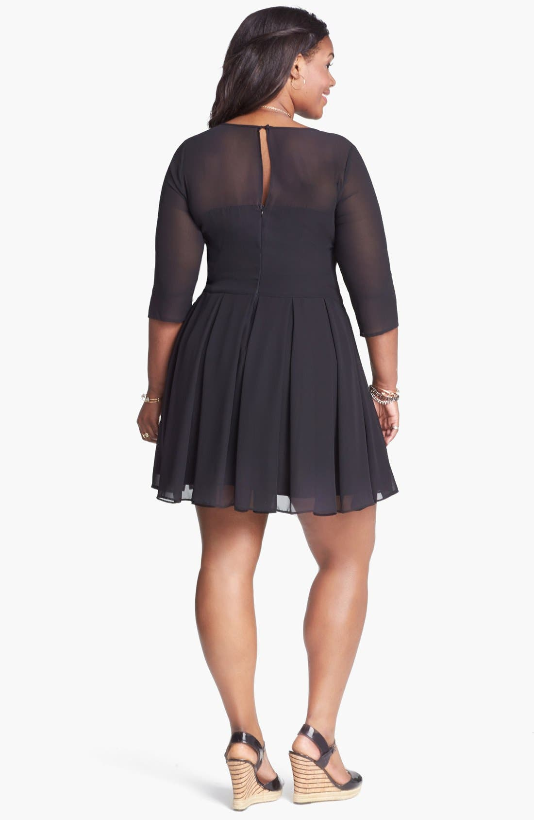 Alternate Image 2  - BB Dakota 'Anita' Georgette Fit & Flare Dress (Plus Size)