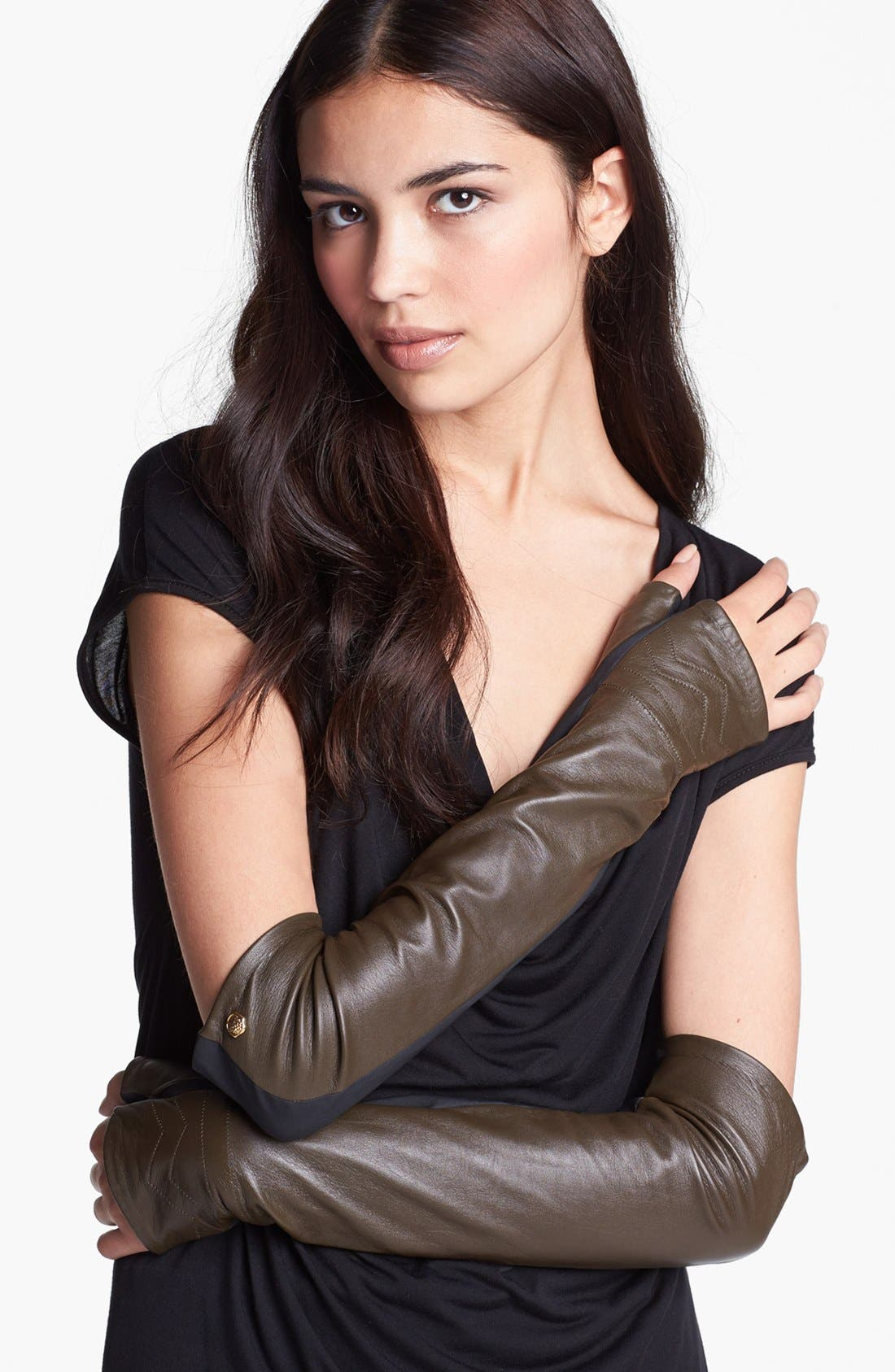Alternate Image 1 Selected - Vince Camuto Chevron Quilted Arm Warmers
