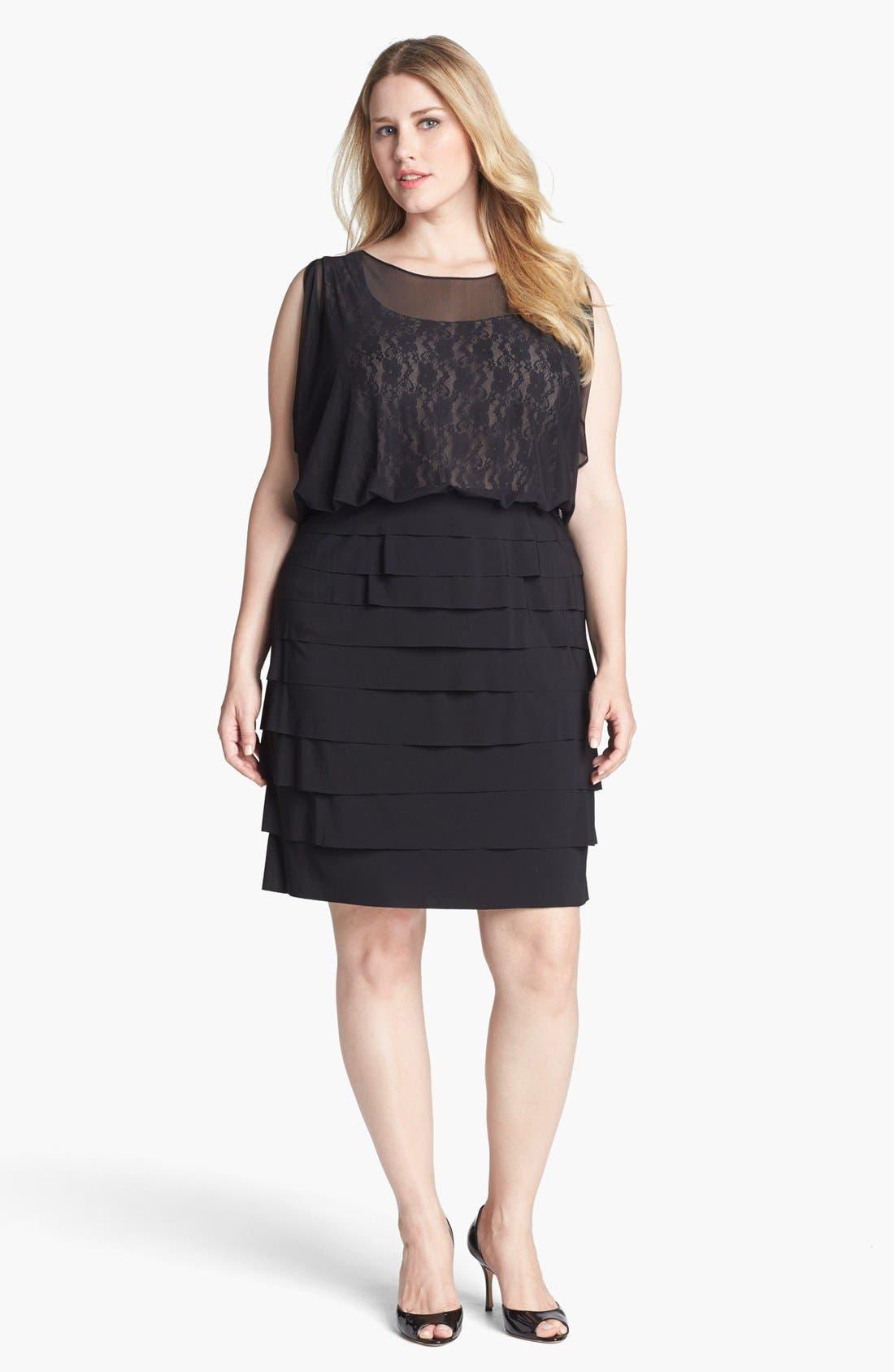 Main Image - London Times Lace & Mesh Tiered Blouson Dress (Plus Size)