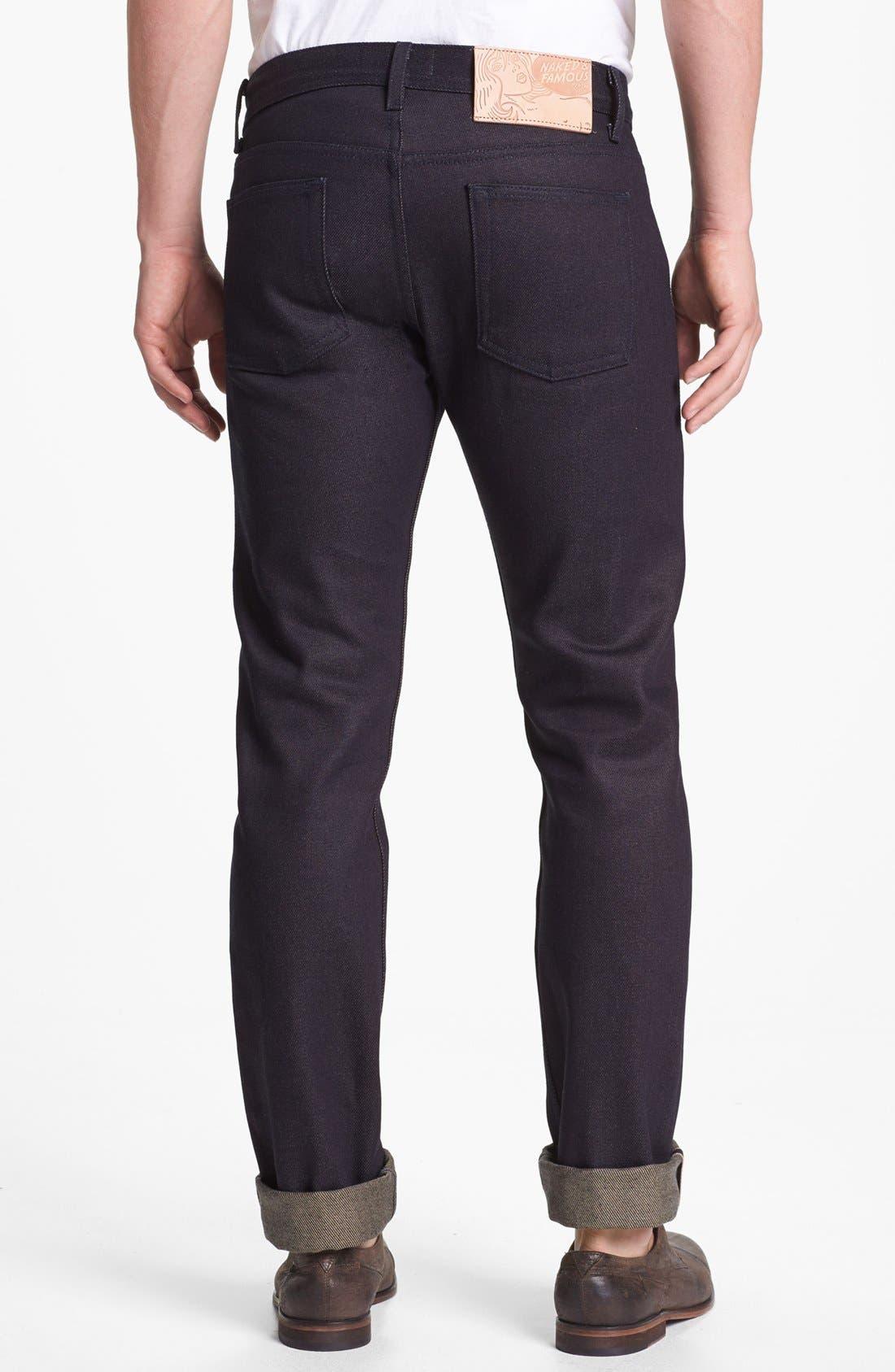 Alternate Image 1 Selected - Naked & Famous Denim 'Weird Guy' Slim Fit Selvedge Jeans (Elephant 3)