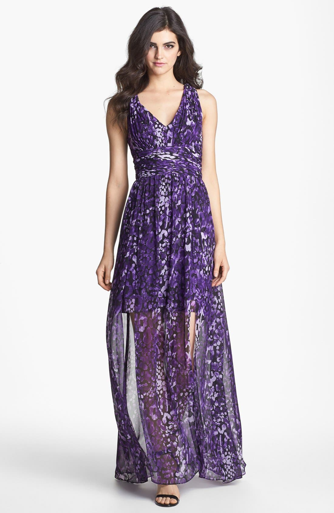 Alternate Image 1 Selected - Hailey by Adrianna Papell Cross Back Print Chiffon Maxi Dress