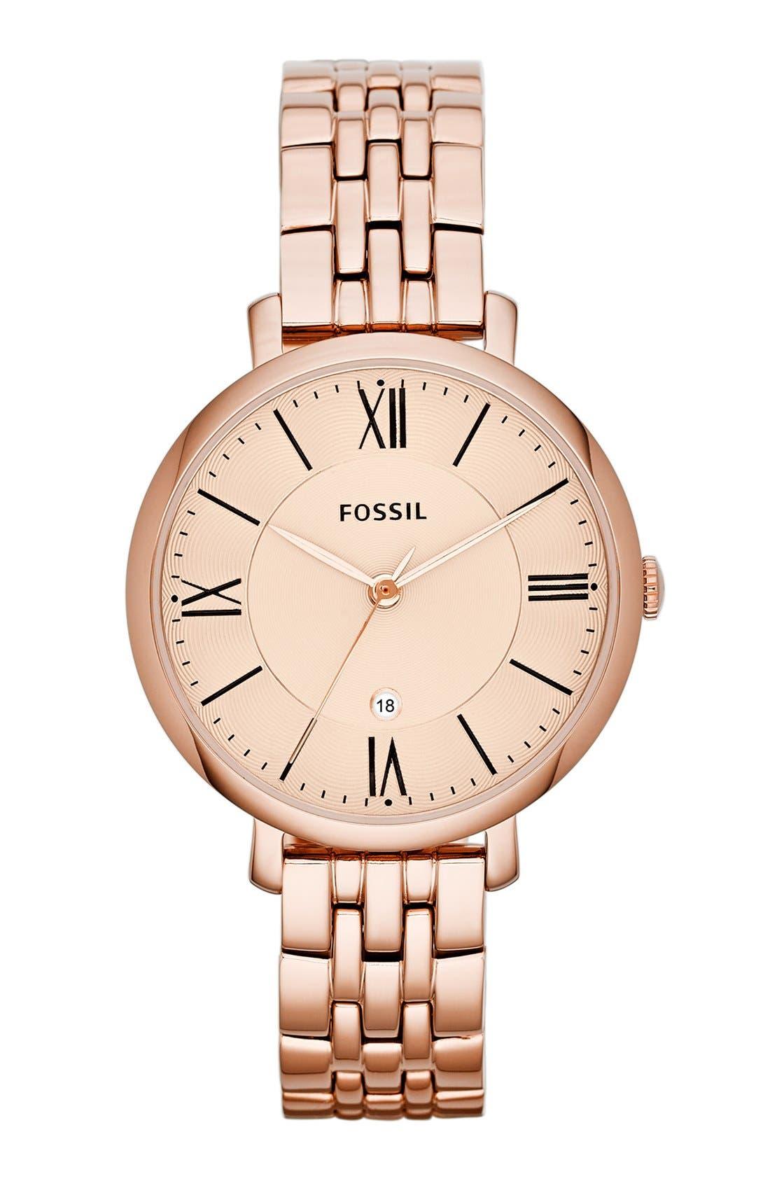 'Jacqueline' Round Bracelet Watch, 36mm,                             Main thumbnail 1, color,                             Rose Gold