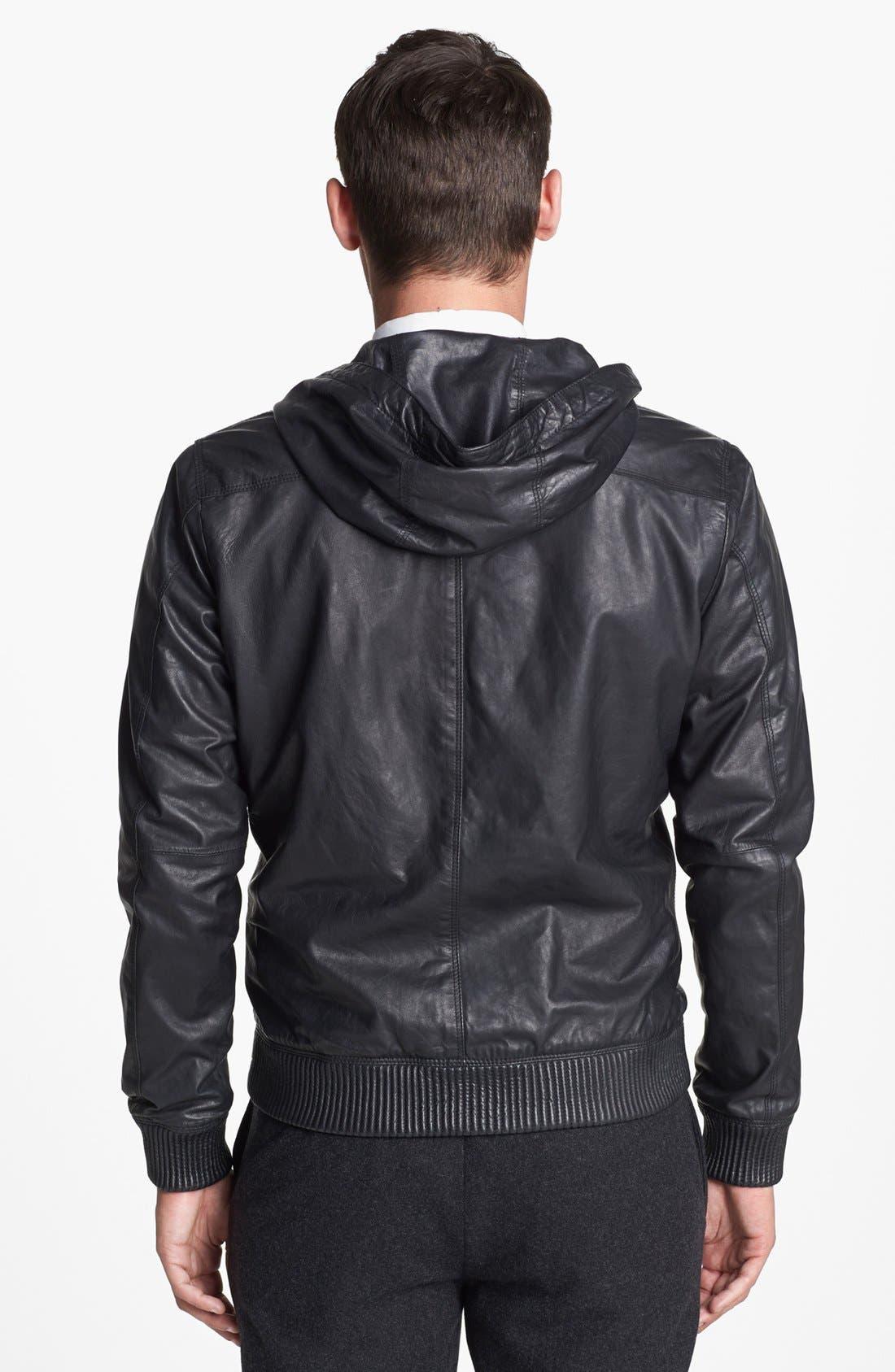 Alternate Image 2  - Vince Hooded Leather Bomber Jacket