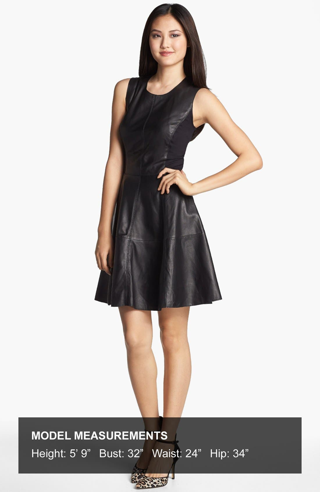 Alternate Image 4  - Halogen® Back Zip Leather & Ponte Dress