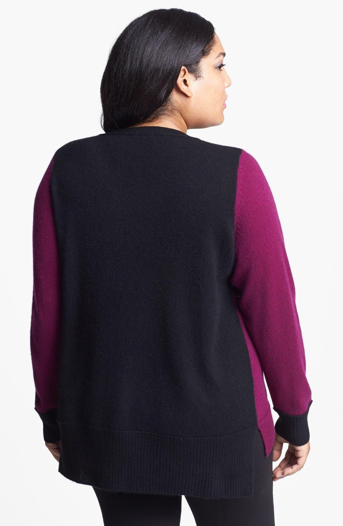 Alternate Image 2  - Halogen® Colorblock Cashmere Sweater (Plus Size)