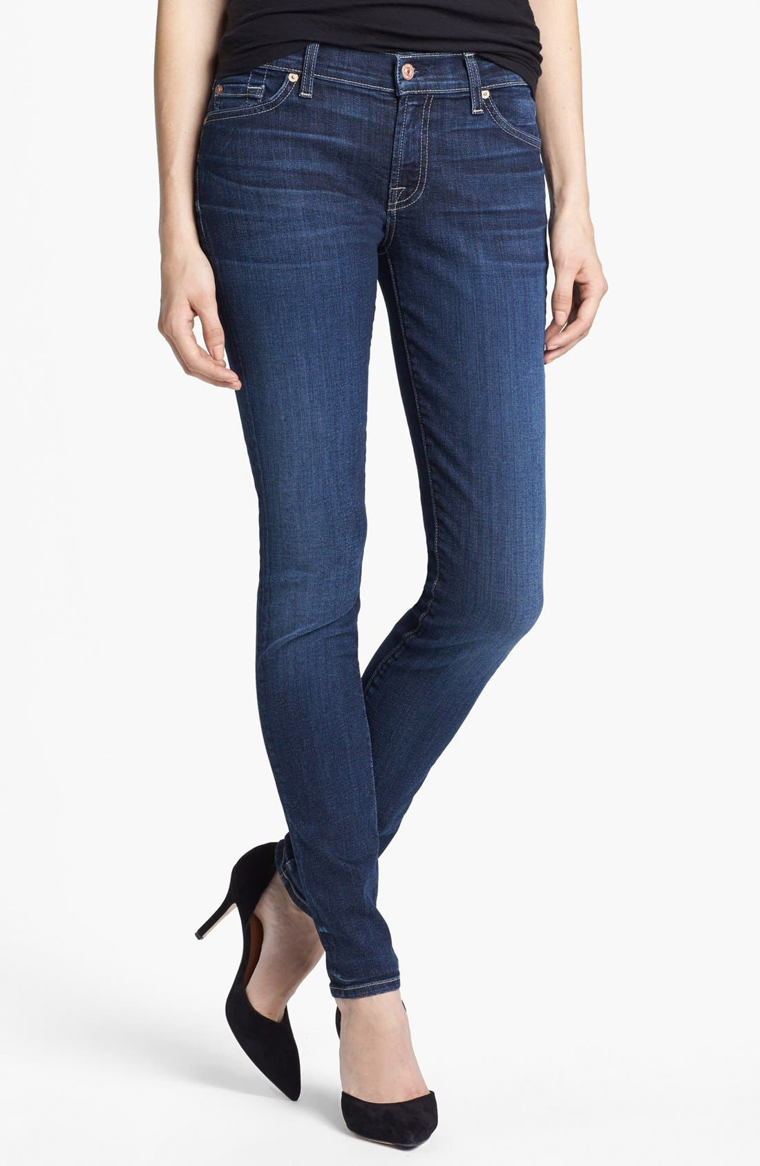 Main Image - 7 For All Mankind® 'The Skinny' Stretch Jeans (La Verna Lake)