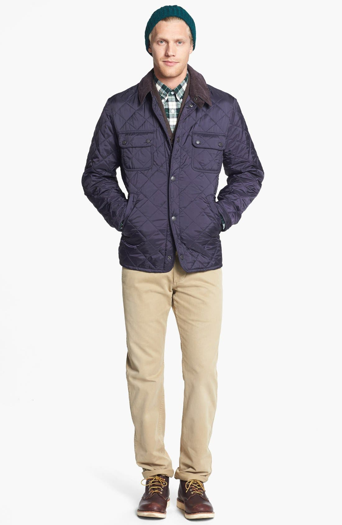 'Tinford' Regular Fit Quilted Jacket,                             Alternate thumbnail 5, color,                             Navy