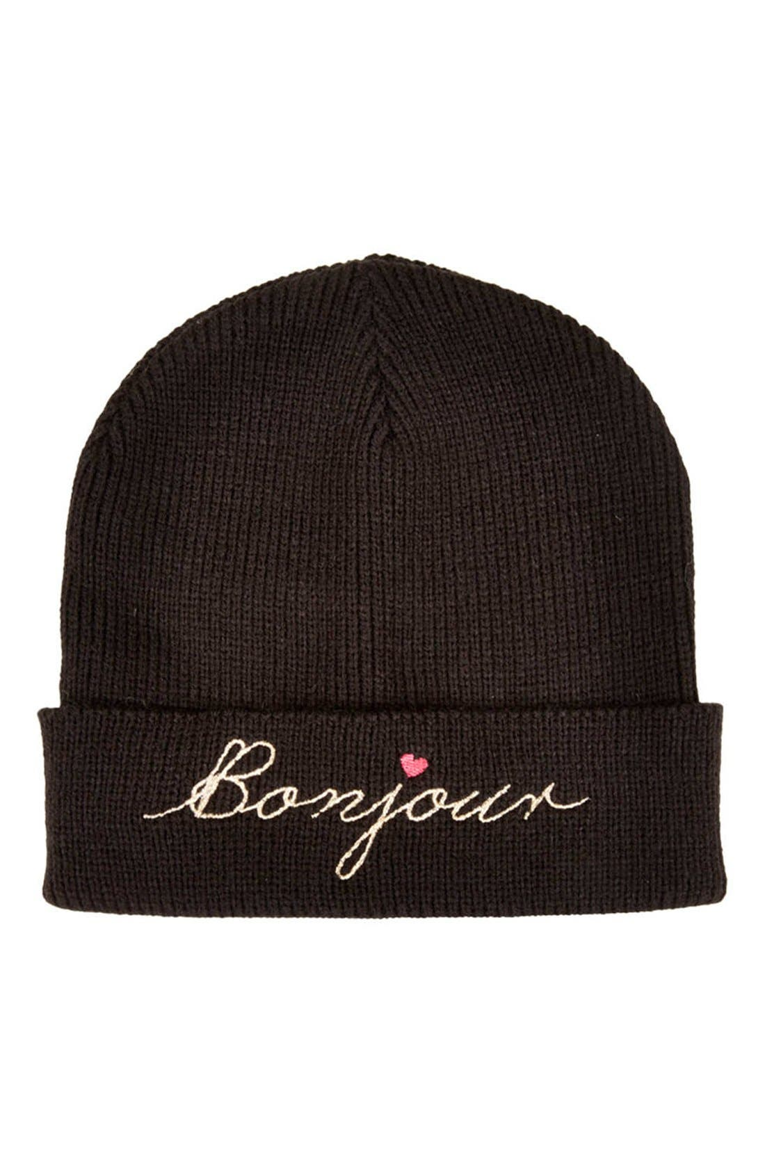 Alternate Image 1 Selected - Topshop 'Bonjour' Embroidered Beanie