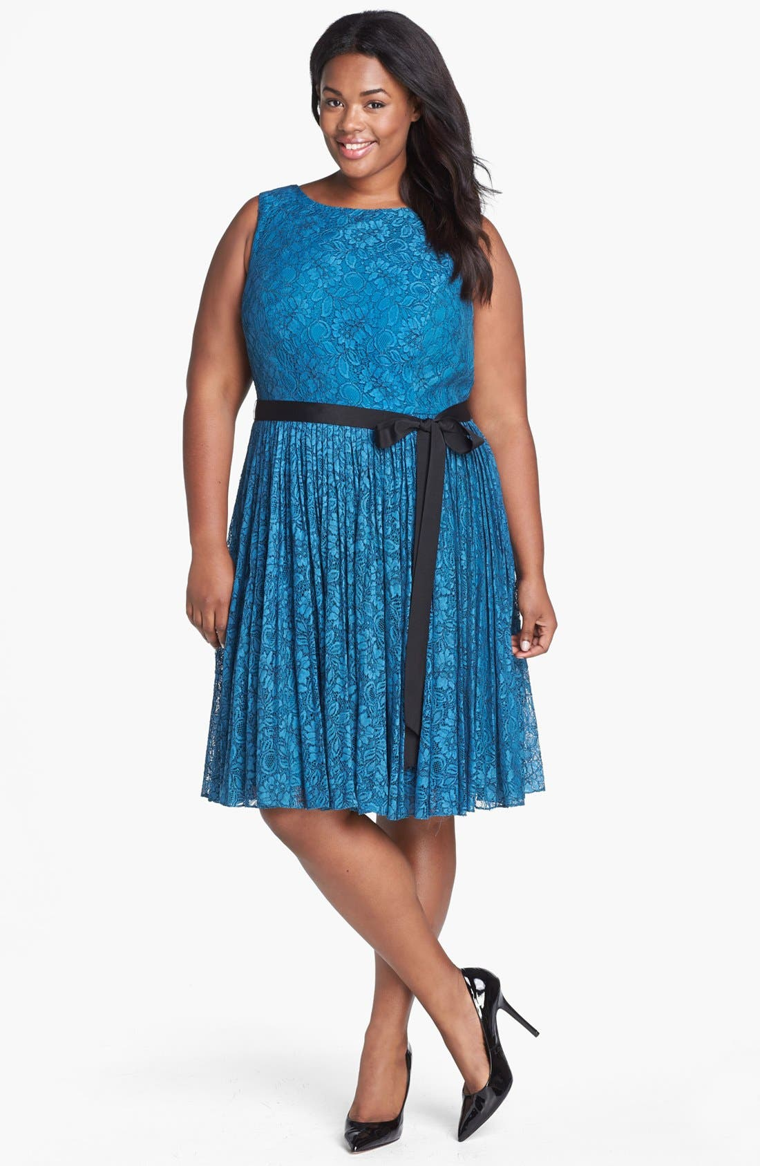 Main Image - Adrianna Papell Lace Fit & Flare Dress (Plus Size)