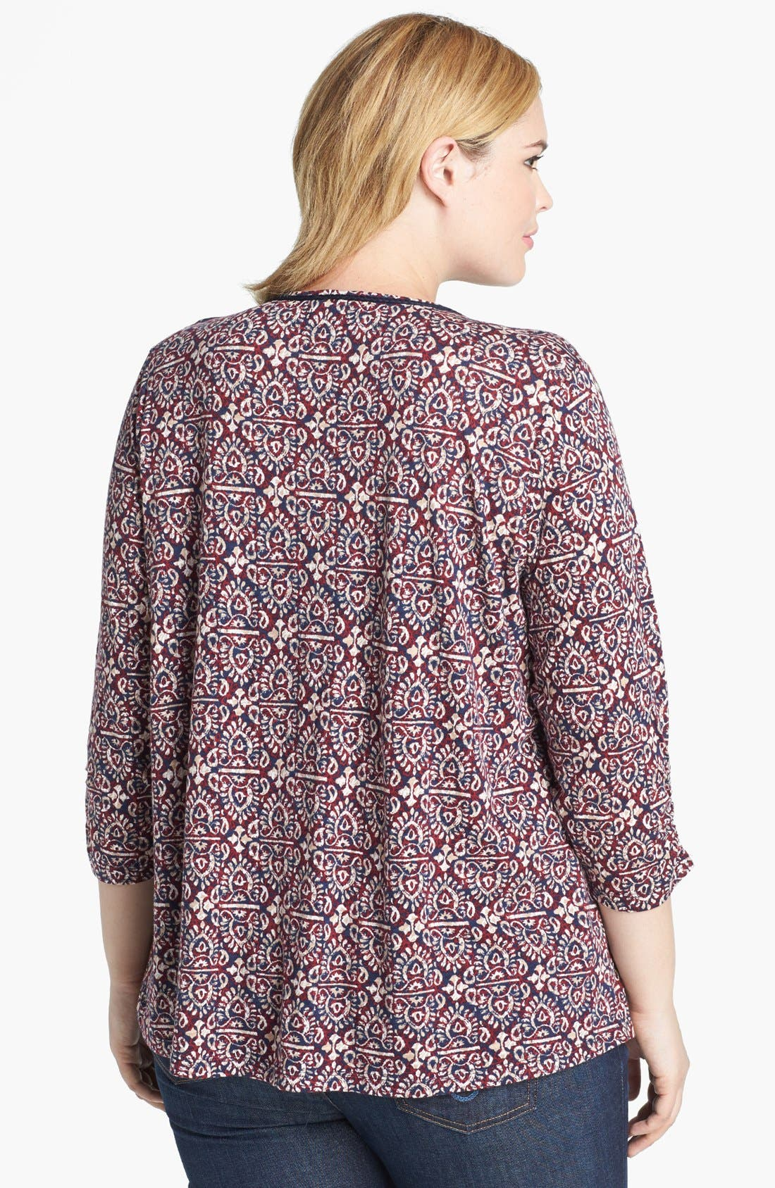 Alternate Image 2  - Lucky Brand 'Moroccan' Print Top (Plus Size)
