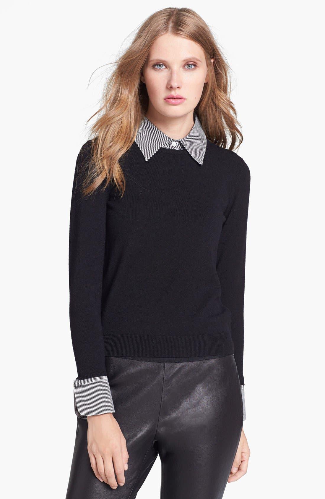 Main Image - Alice + Olivia 'Wiley' Contrast Trim Sweater