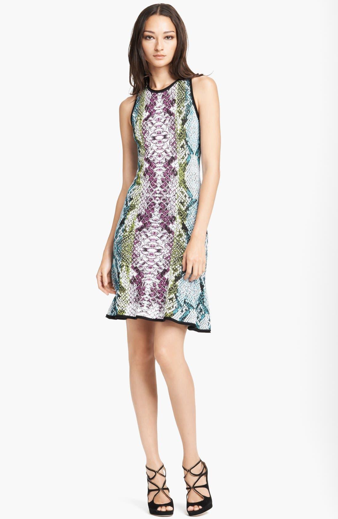 Alternate Image 1 Selected - Roberto Cavalli Snake Jacquard Flounce Hem Dress