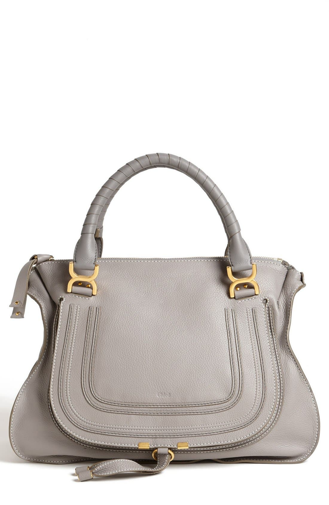 Large Marcie Leather Satchel,                         Main,                         color, Cashmere Grey