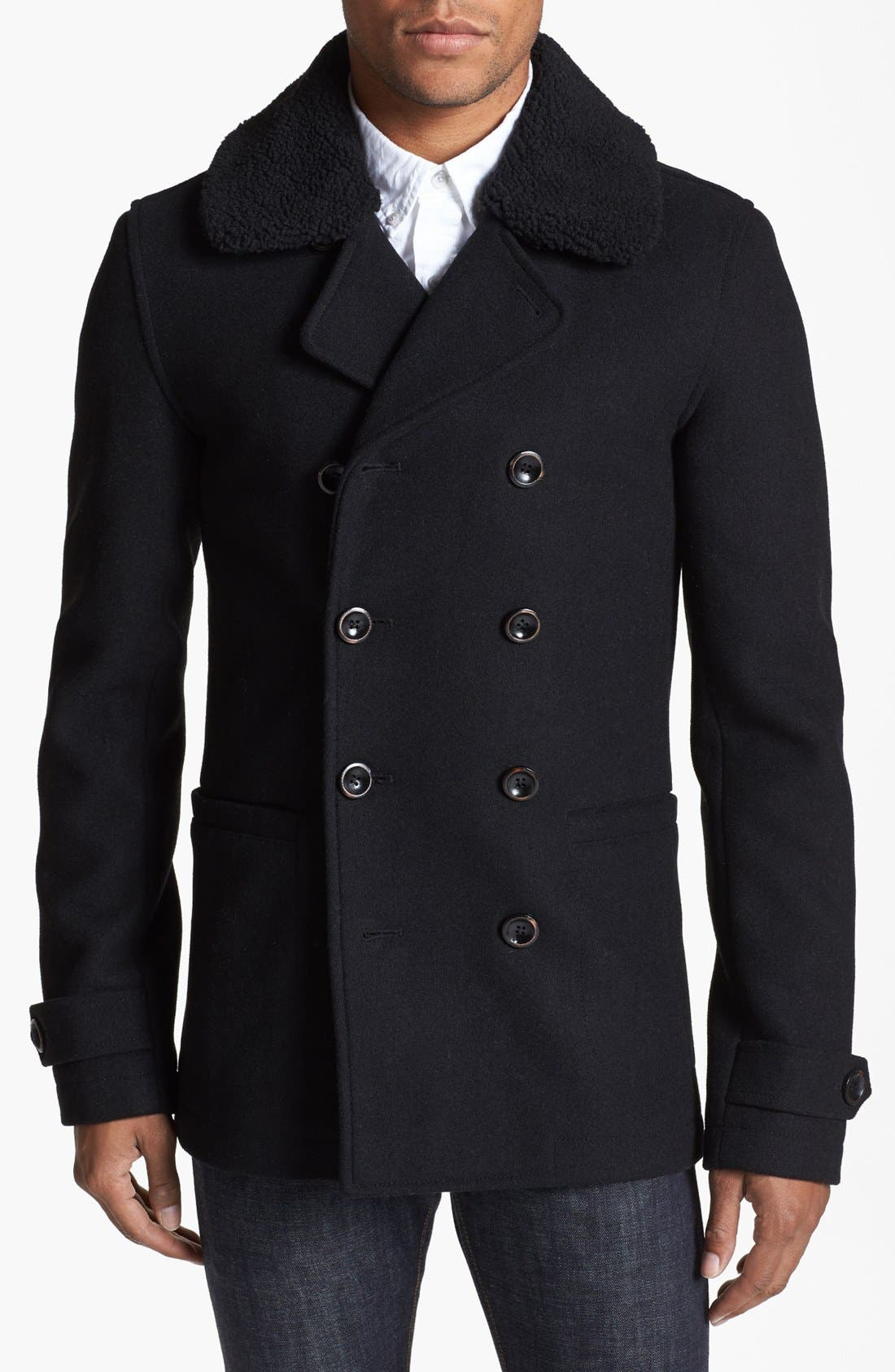 Skinny Fit Double Breasted Peacoat,                             Main thumbnail 1, color,                             Black