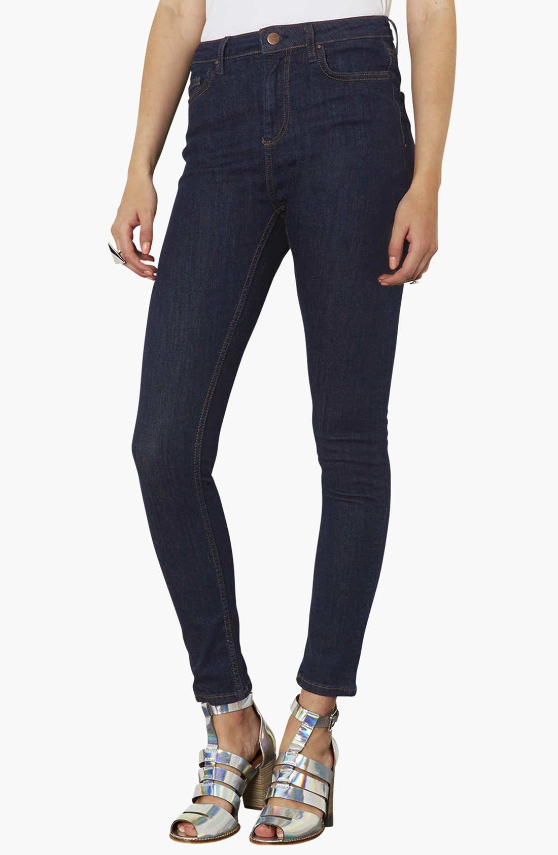 Main Image - Topshop Moto 'Jamie' High Rise Skinny Jeans (Blue) (Regular, Short & Long)