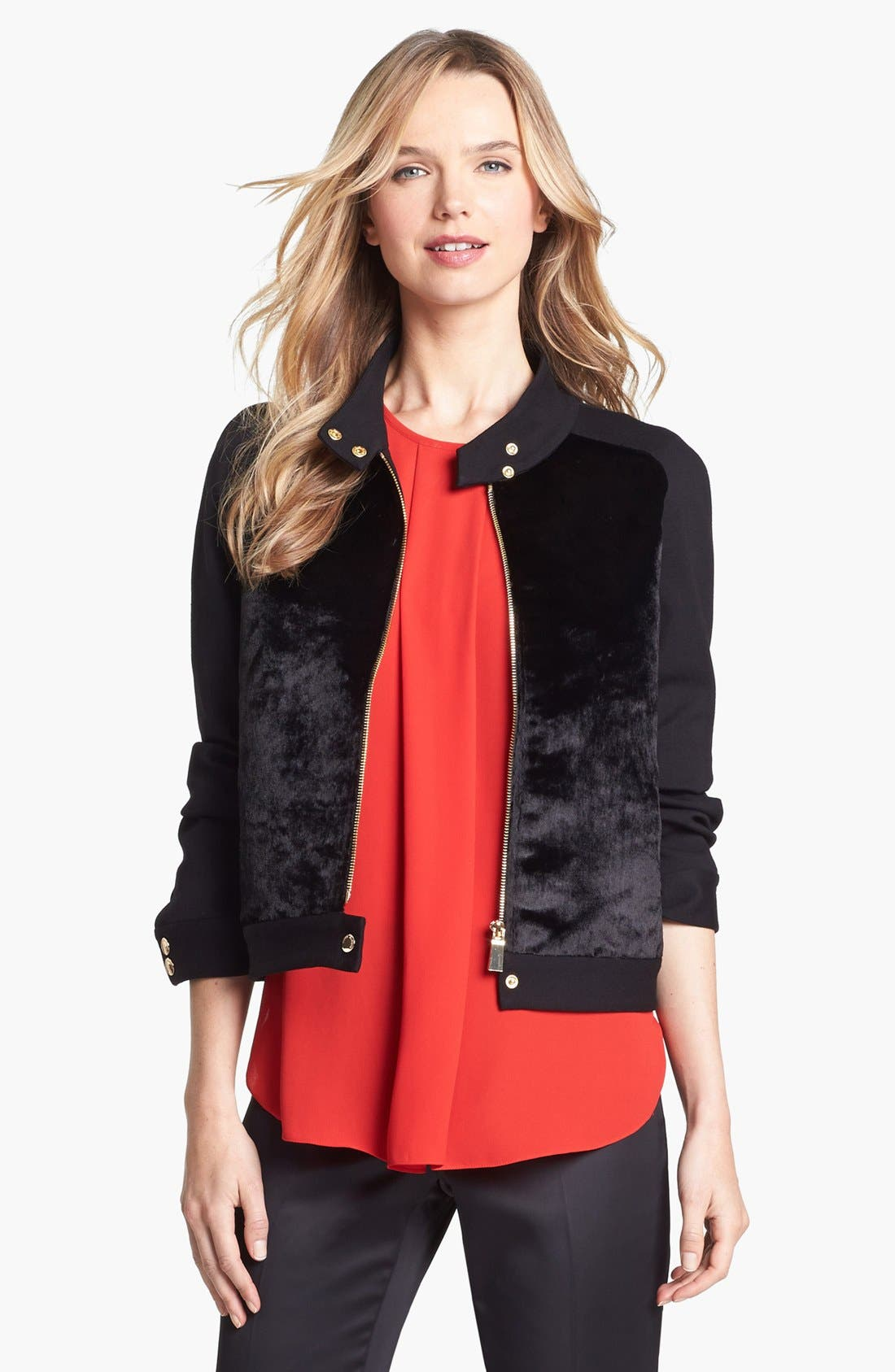 Main Image - Vince Camuto Faux Calf Hair & Ponte Knit Jacket