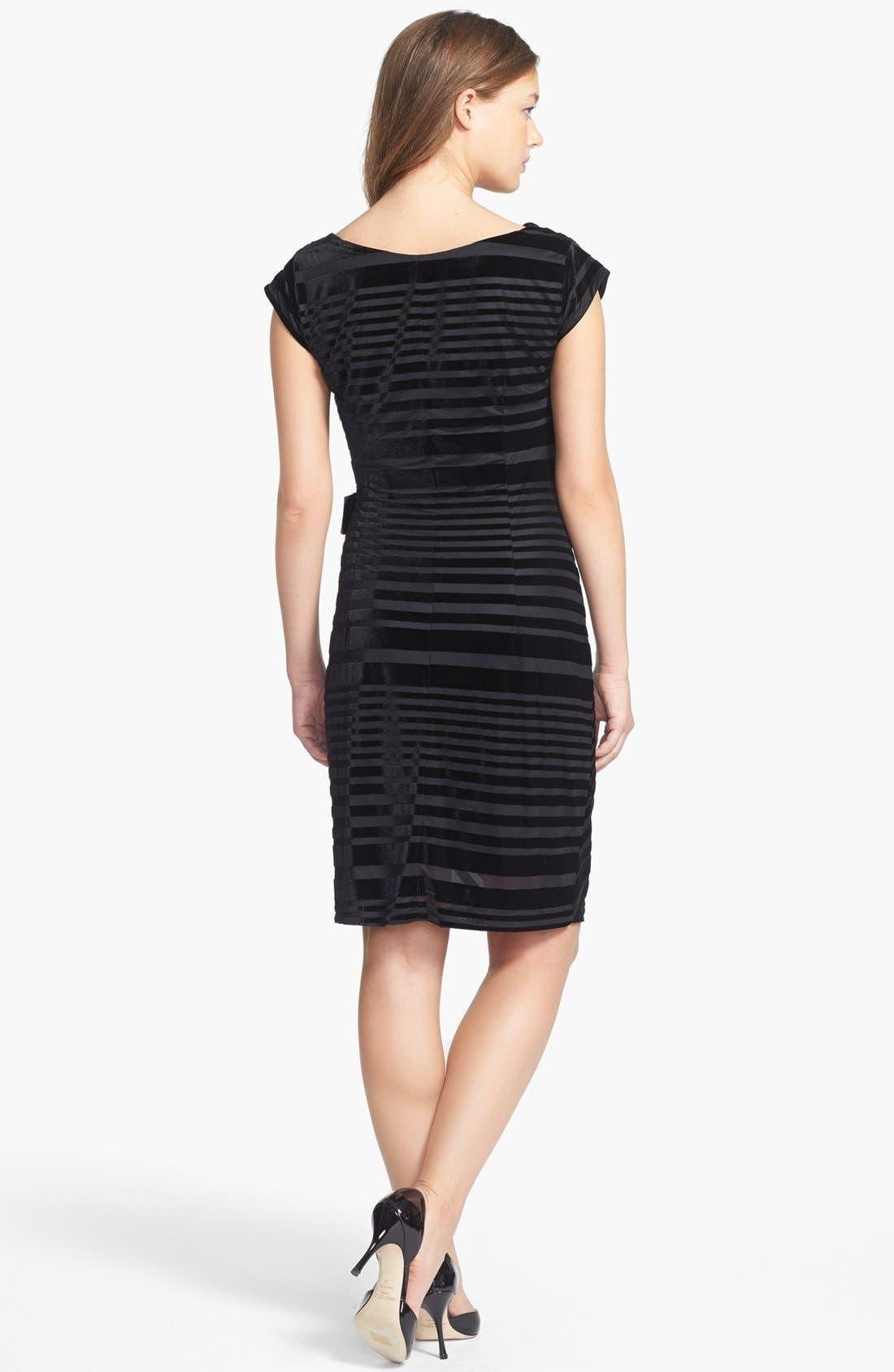 Alternate Image 2  - Taylor Dresses Stripe Velvet Dress