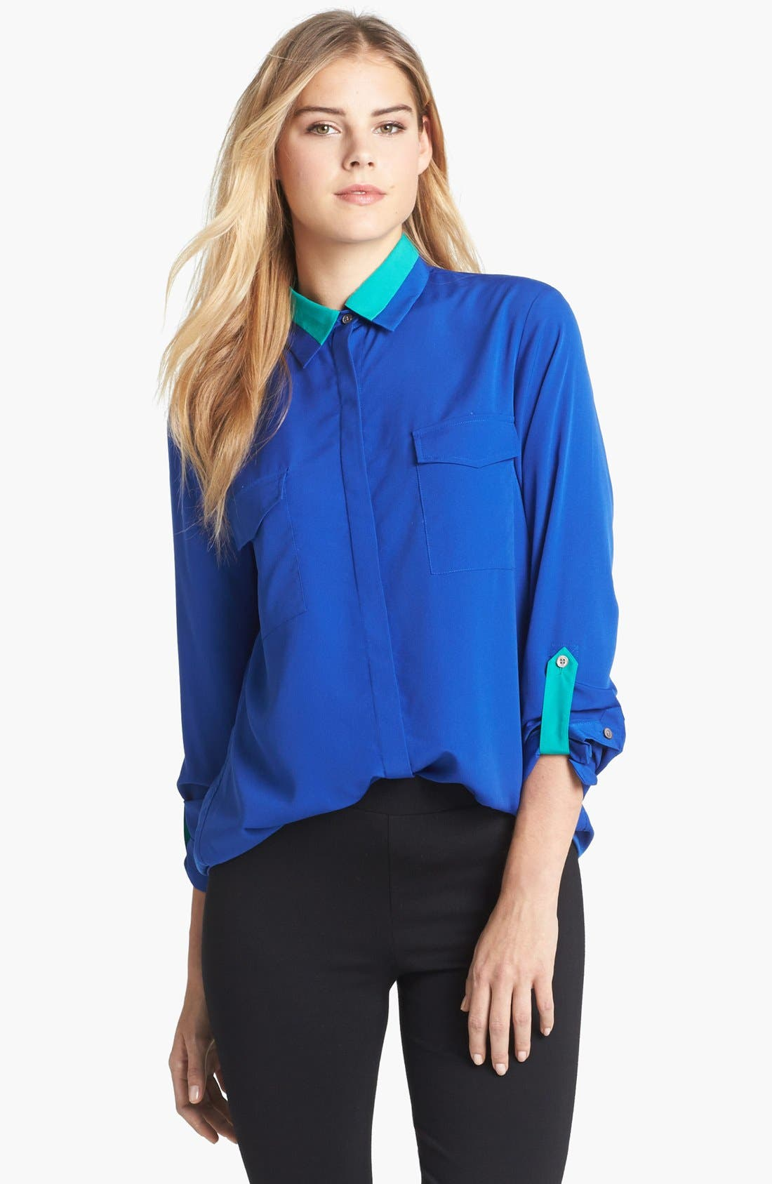 Main Image - Two by Vince Camuto Colorblock Roll Tab Sleeve Blouse