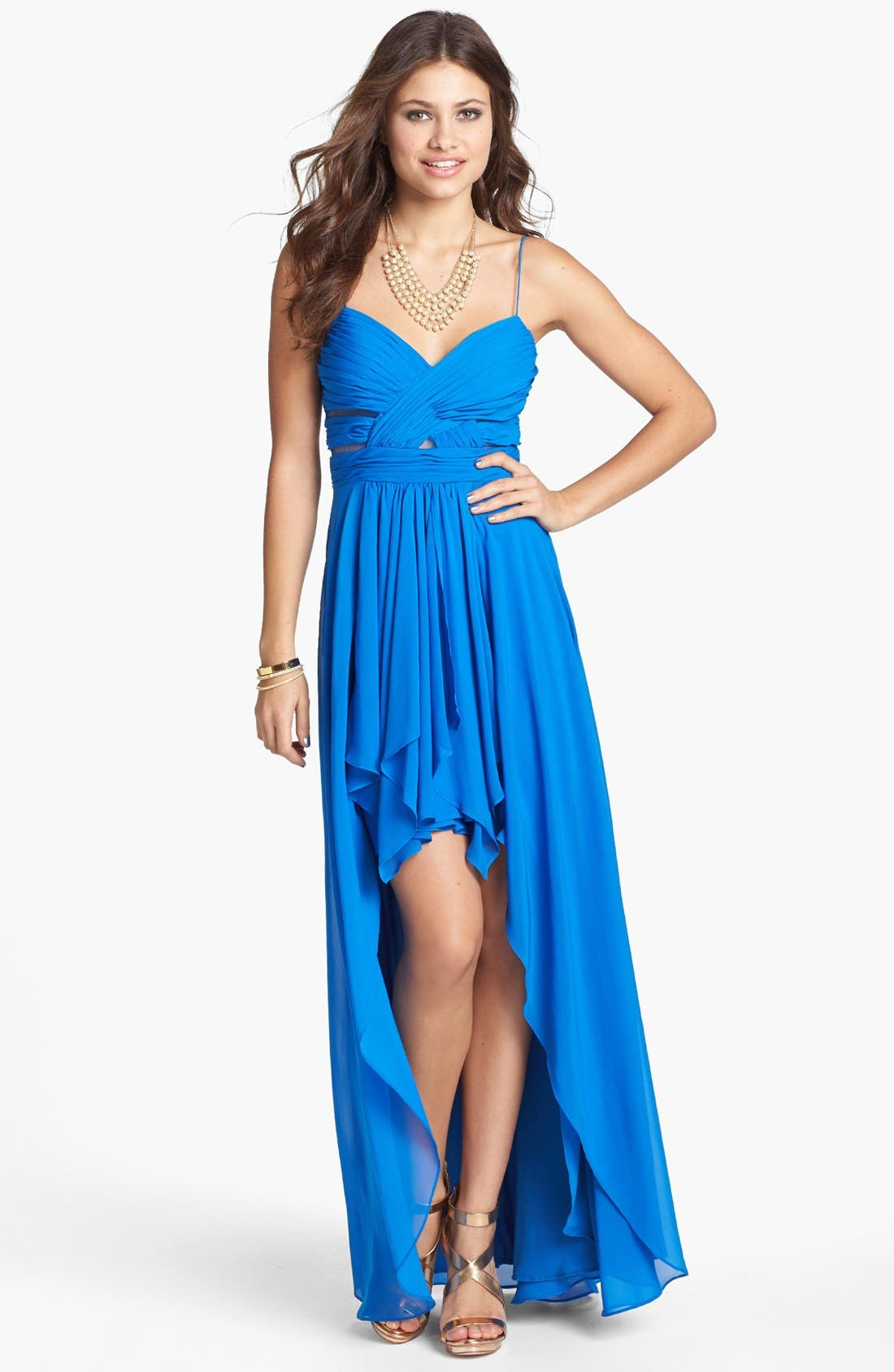 Main Image - Hailey Logan Pleated Chiffon High/Low Gown (Juniors)