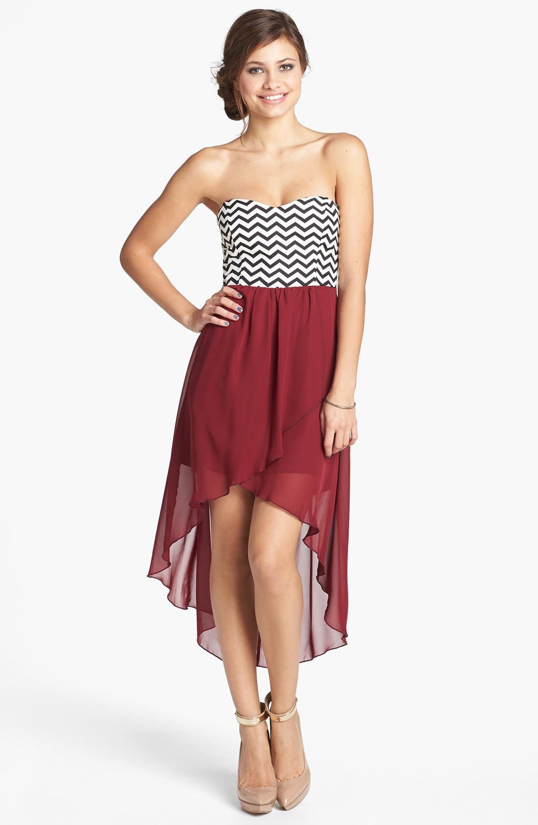 Alternate Image 1 Selected - Trixxi Chevron Bodice High/Low Dress (Juniors) (Online Only)