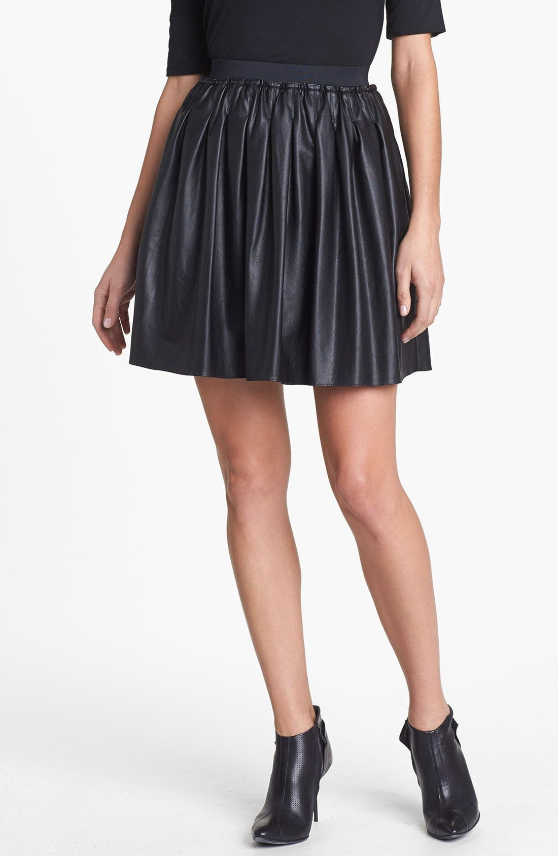 Main Image - Pink Tartan 'Moss' Faux Leather Skirt