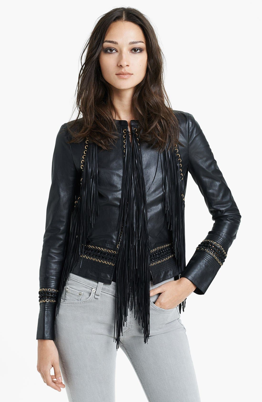 Alternate Image 1 Selected - Roberto Cavalli Fringe Detail Leather Jacket
