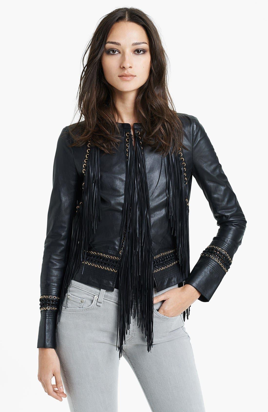 Main Image - Roberto Cavalli Fringe Detail Leather Jacket