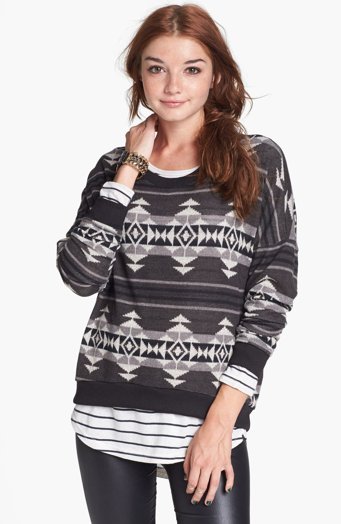 Alternate Image 1 Selected - Painted Threads Geometric Pattern Sweatshirt (Juniors)