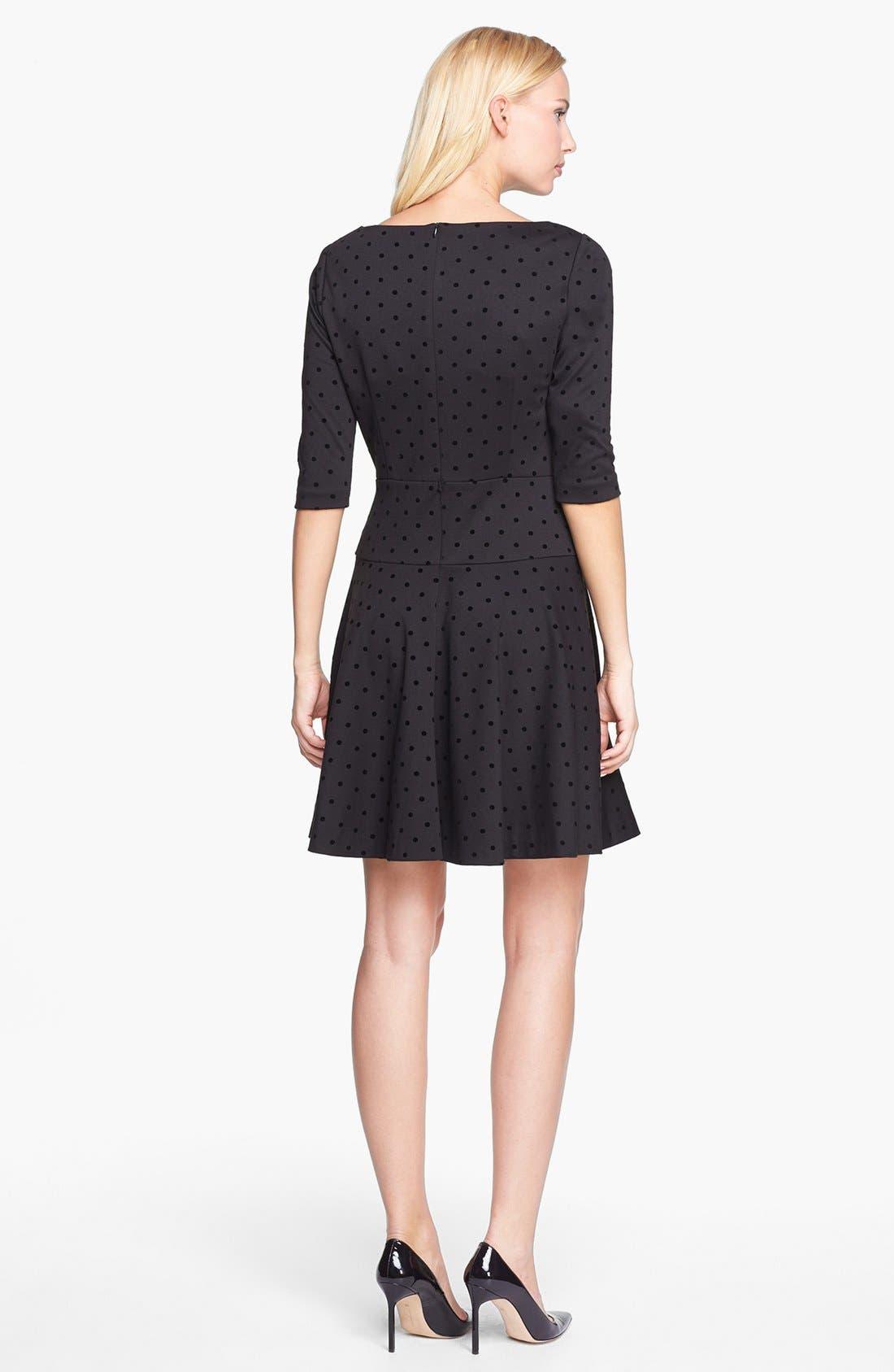 Alternate Image 2  - Tahari Flocked Dot Ponte Knit Fit & Flare Dress