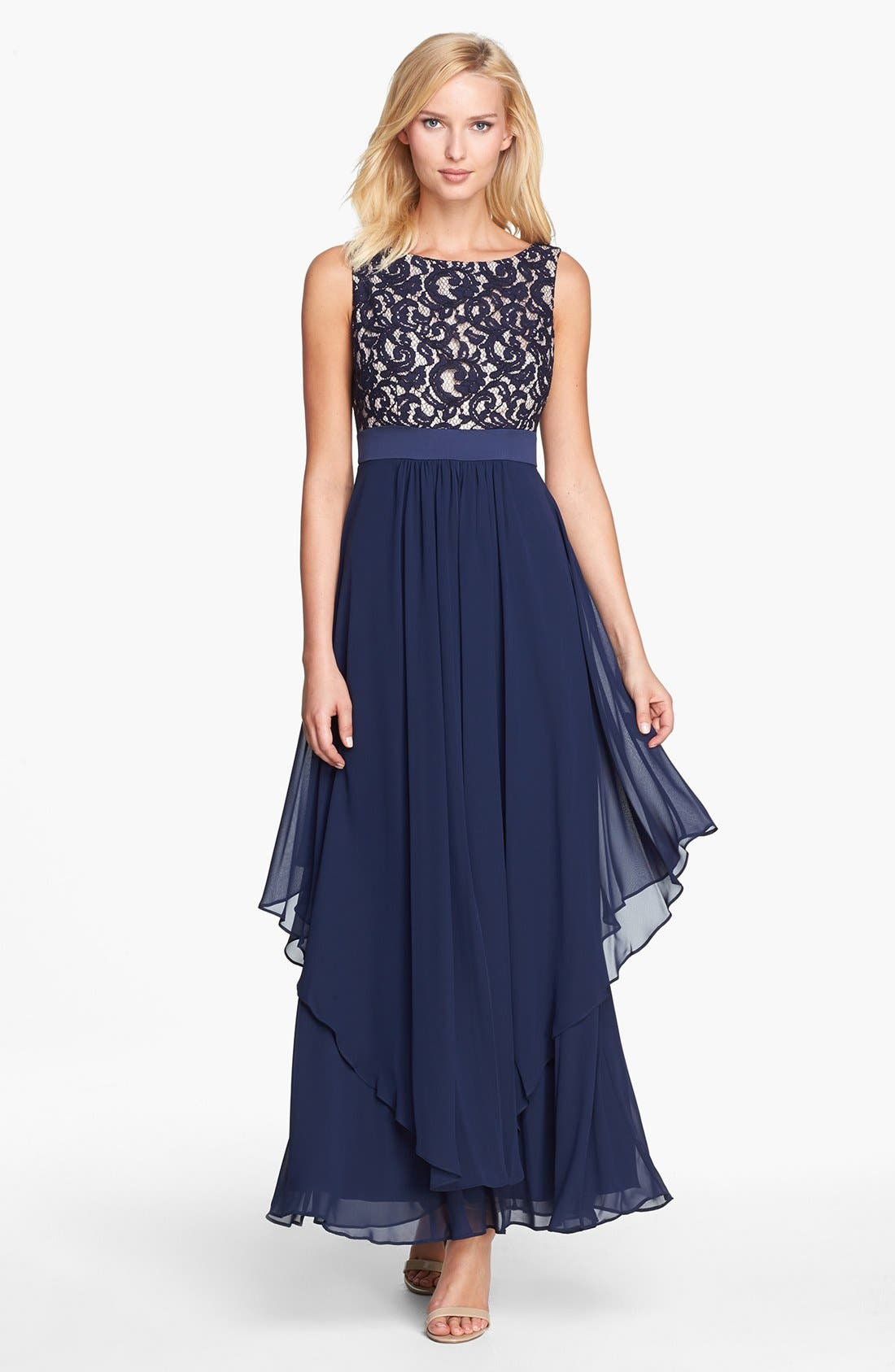 Alternate Image 1 Selected - Eliza J Lace & Chiffon Gown