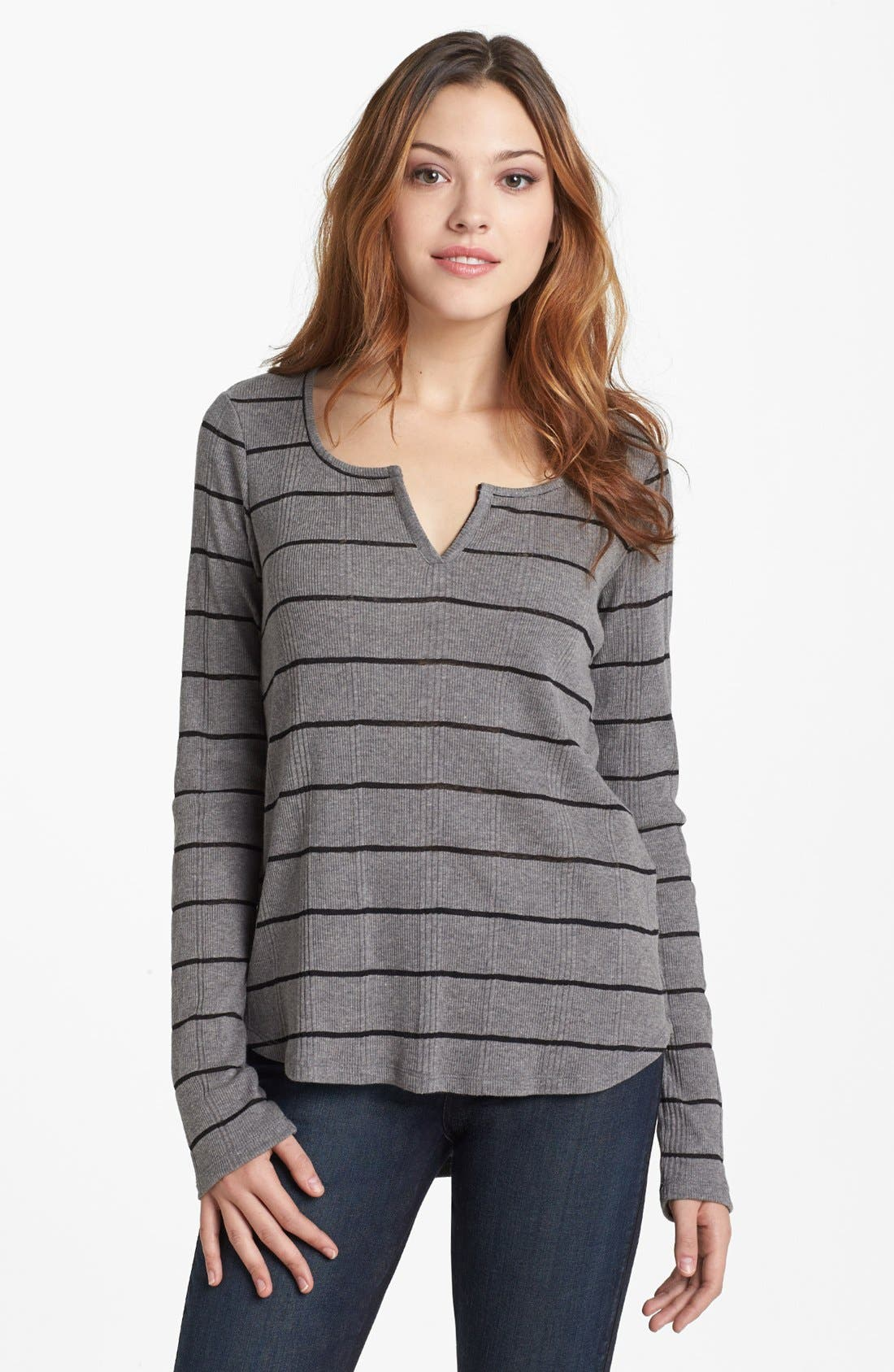 Alternate Image 1 Selected - Lucky Brand Ribbed Stripe Top