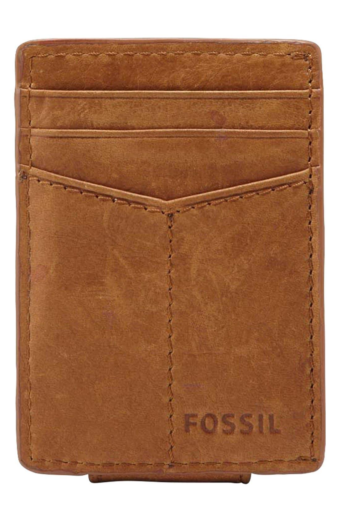 Alternate Image 2  - Fossil 'Ingram' Leather Magnetic Money Clip Card Case