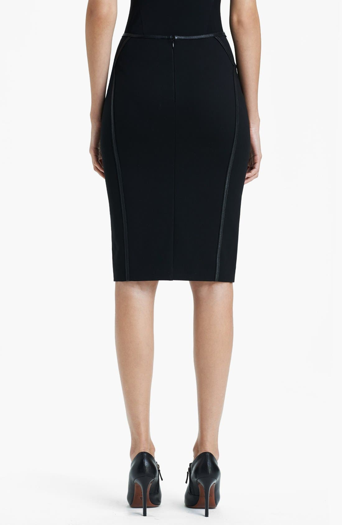 Alternate Image 2  - Donna Karan Collection Leather Trim Structured Jersey Skirt