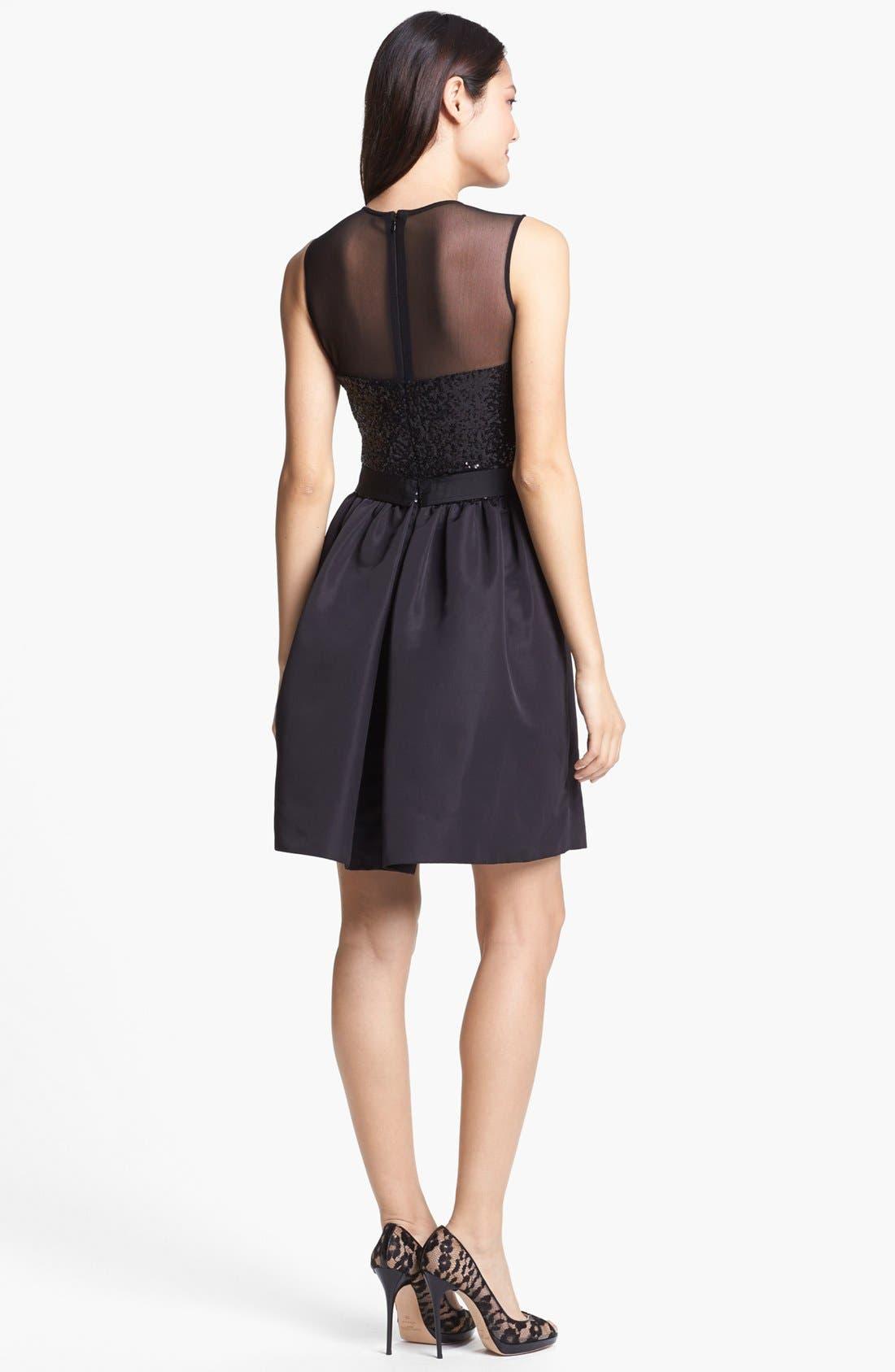 Alternate Image 2  - Taylor Dresses Mixed Media Fit & Flare Dress