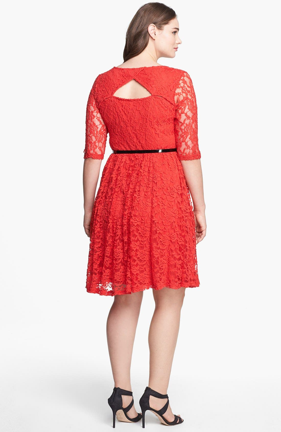 Alternate Image 2  - City Chic Belted Lace Fit & Flare Dress (Plus Size)