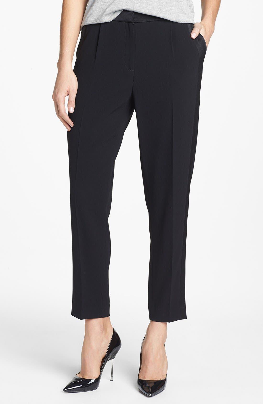 Main Image - Trouvé Tuxedo Stripe Crop Pants