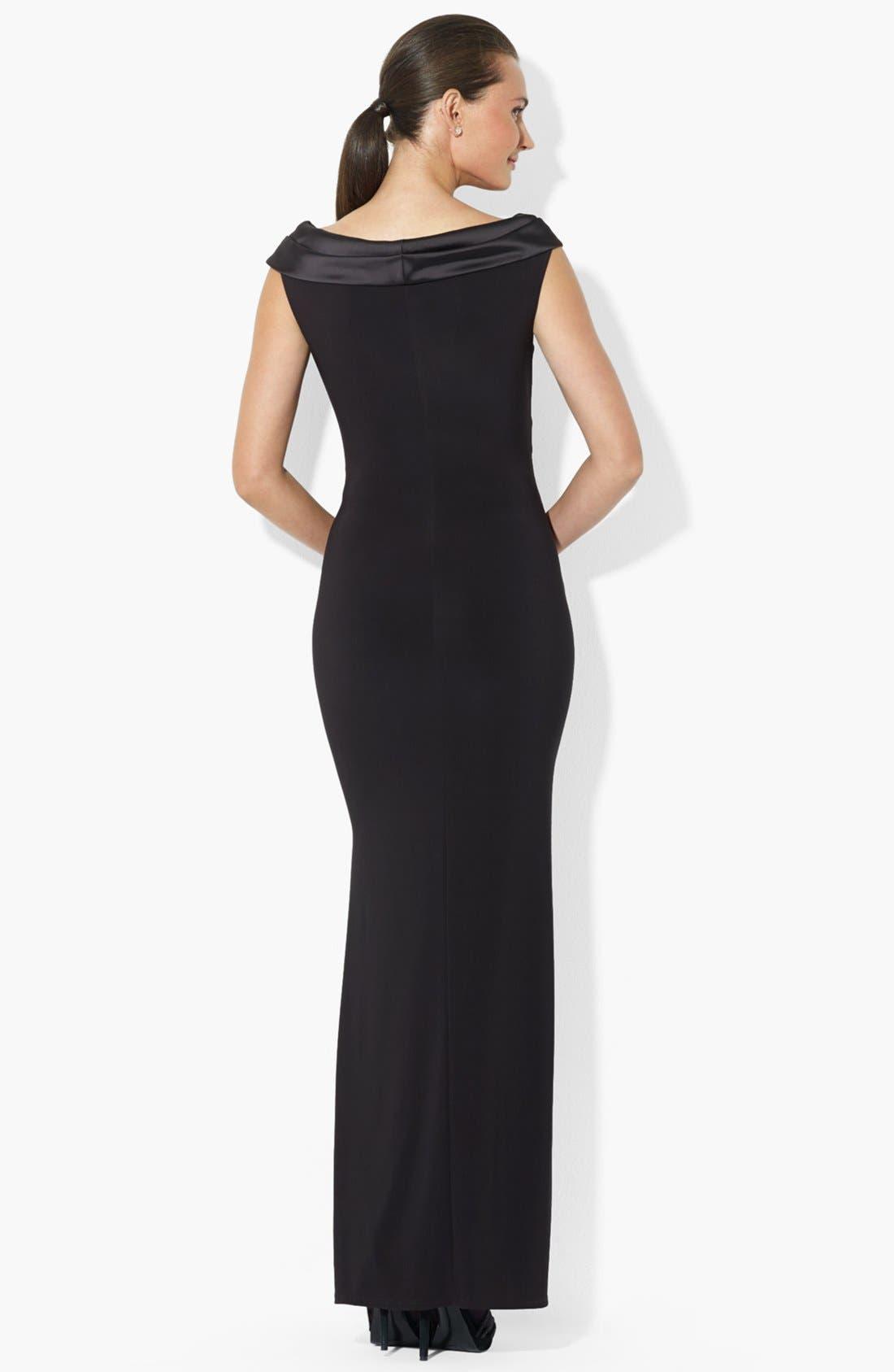 Alternate Image 2  - Lauren Ralph Lauren Satin Neck Matte Jersey Gown