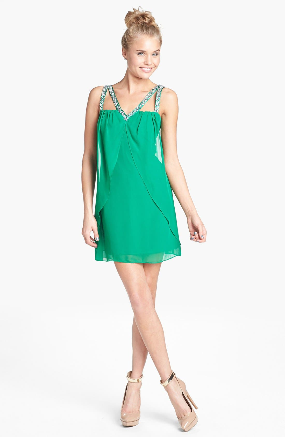 Alternate Image 1 Selected - Hailey Logan Jeweled V-Neck Dress (Juniors) (Online Only)