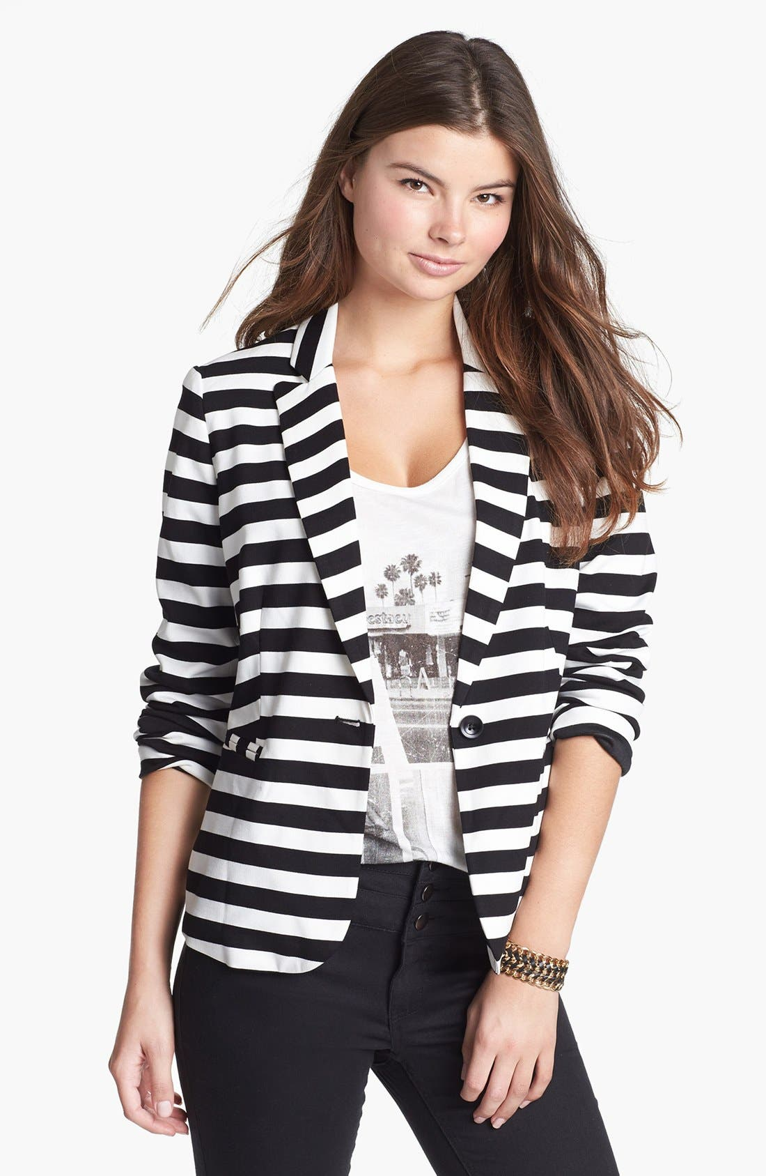 Stripe Ponte Blazer,                             Main thumbnail 1, color,                             Black/ White Stripe