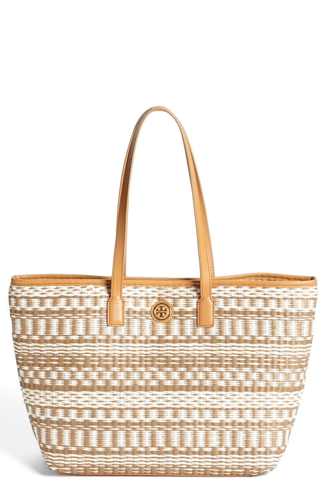 Alternate Image 1 Selected - Tory Burch 'Small Stripe' Straw Tote