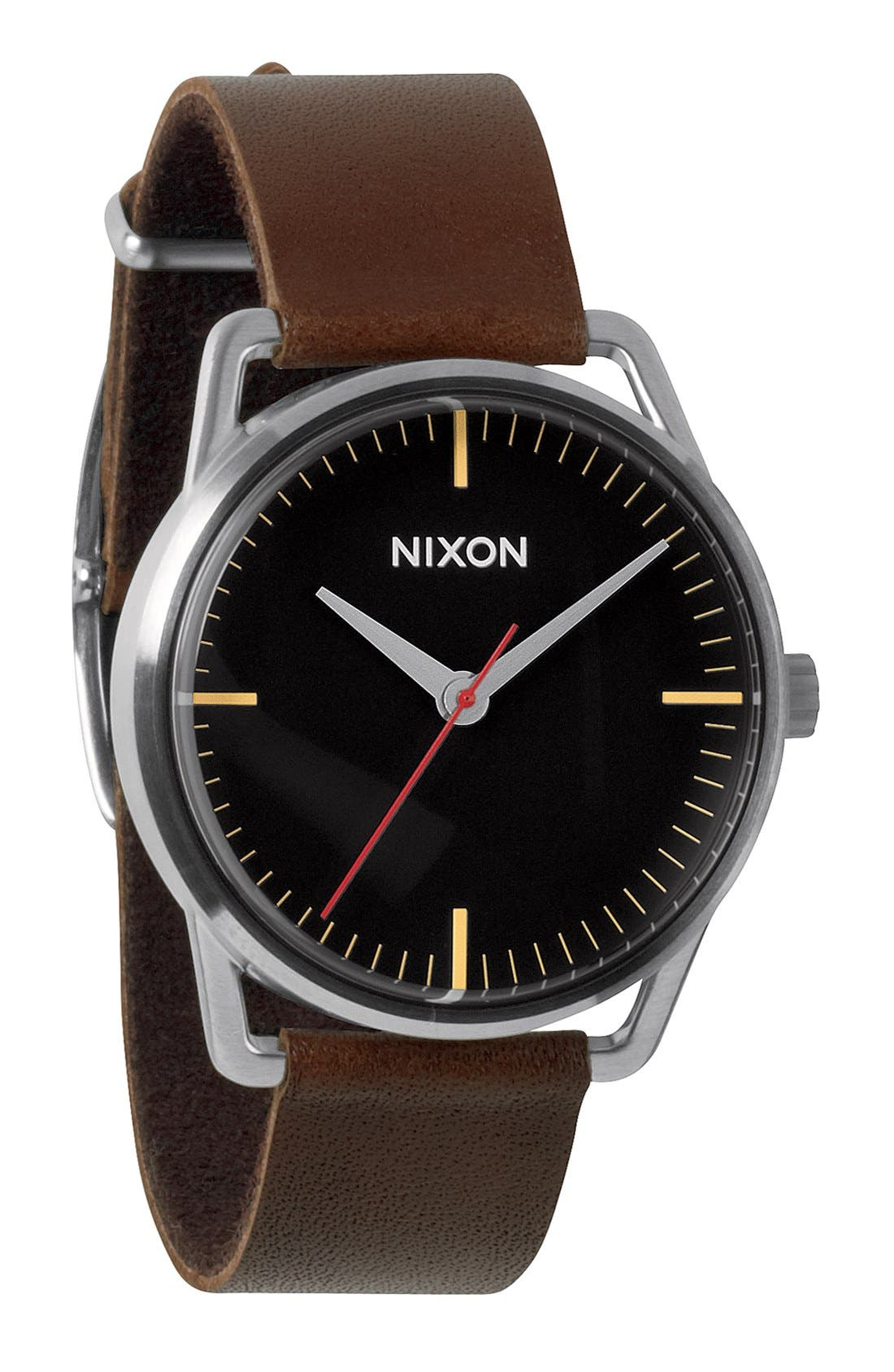Alternate Image 1 Selected - Nixon 'The Mellor' Leather Strap Watch, 38mm
