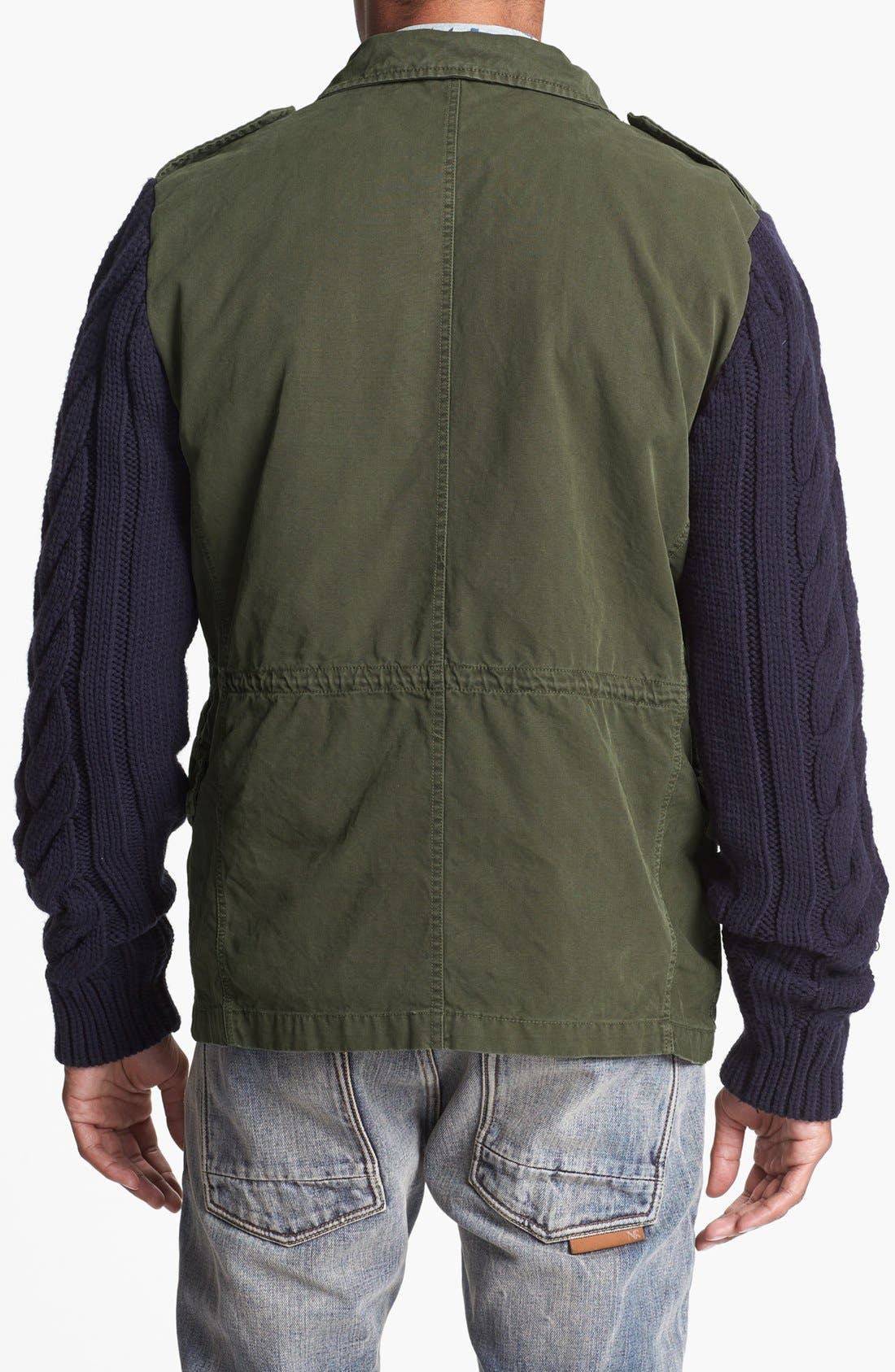 Alternate Image 2  - Scotch & Soda Military Jacket with Knit Sleeves