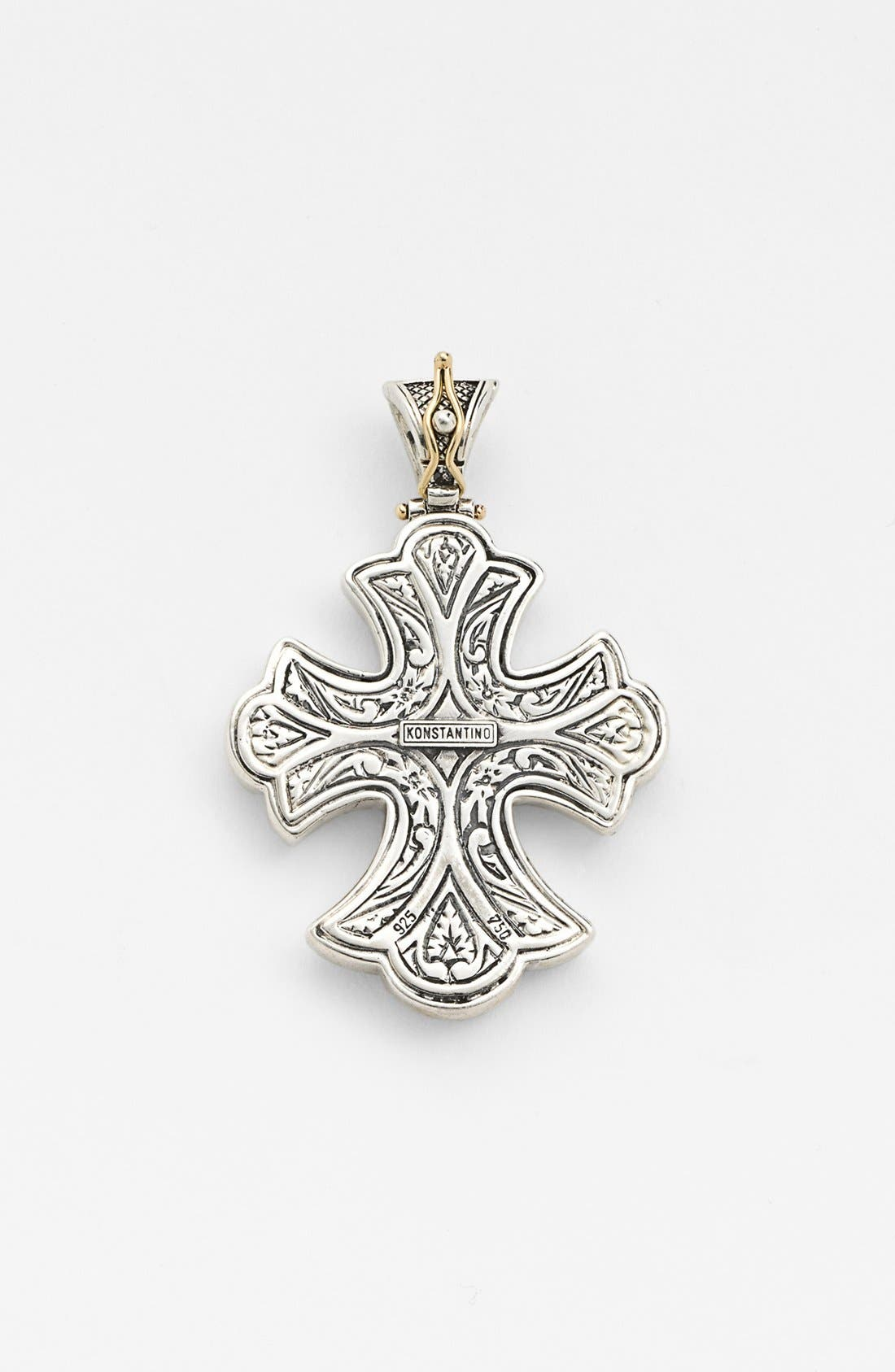 cross lyst necklace floral konstantino sterling jewelry silver pendant yellow hebe gold