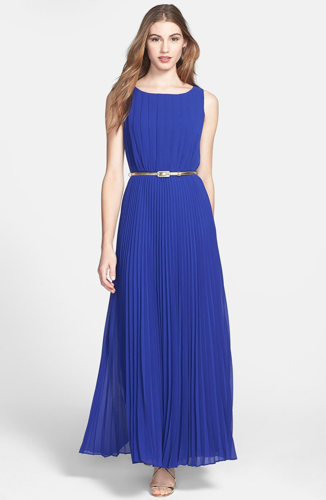 Pleat Chiffon Maxi Dress,                         Main,                         color, Royal