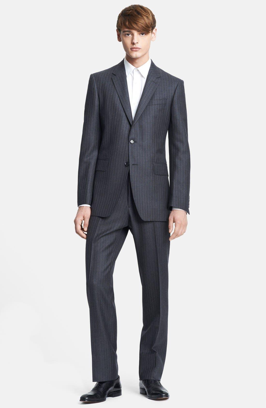 Alternate Image 1 Selected - Burberry London Grey Stripe Wool Suit