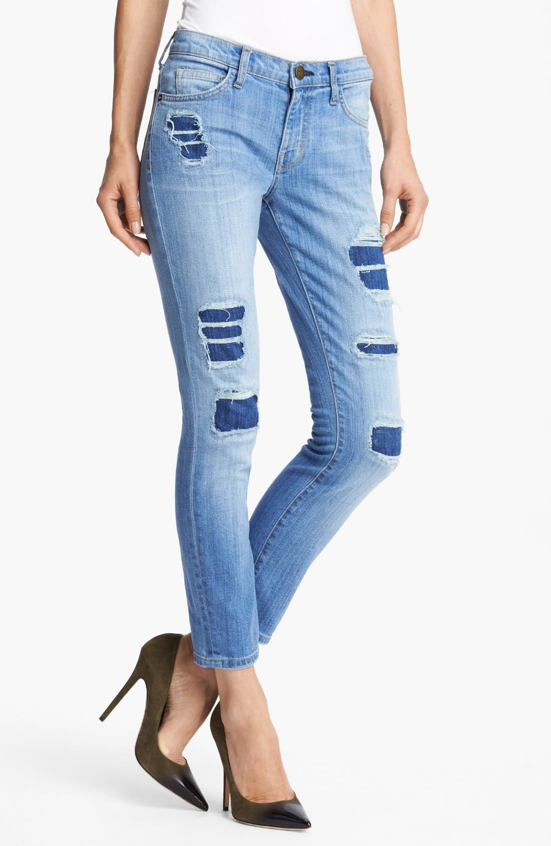 Main Image - Current/Elliott 'The Stiletto' Stretch Jeans (Omaha Patch Repair)