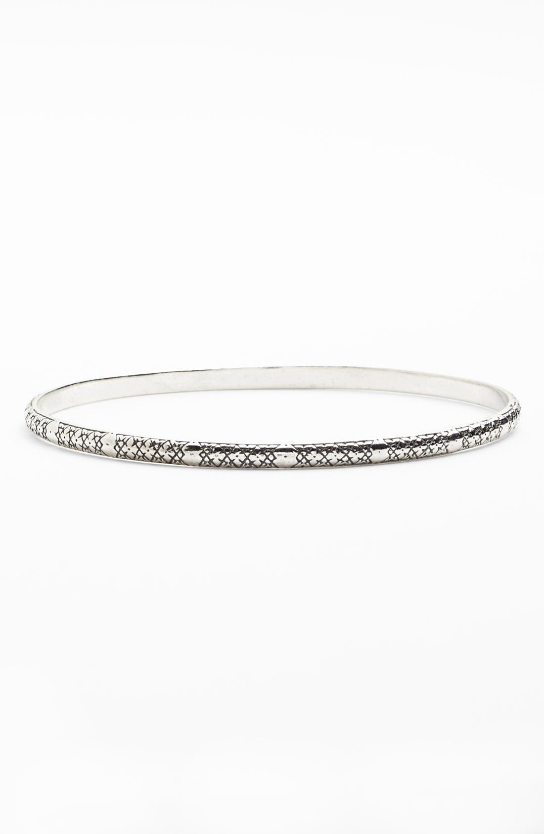 'Classics' Etched Bangle,                         Main,                         color, Silver