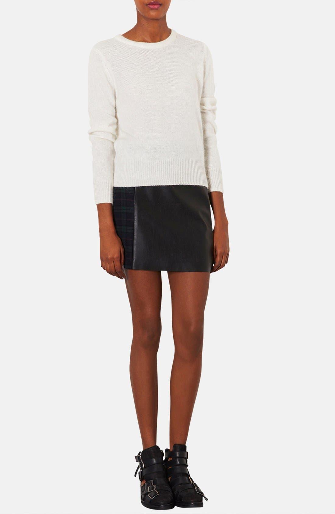 Alternate Image 4  - Topshop Mixed Media A-Line Skirt