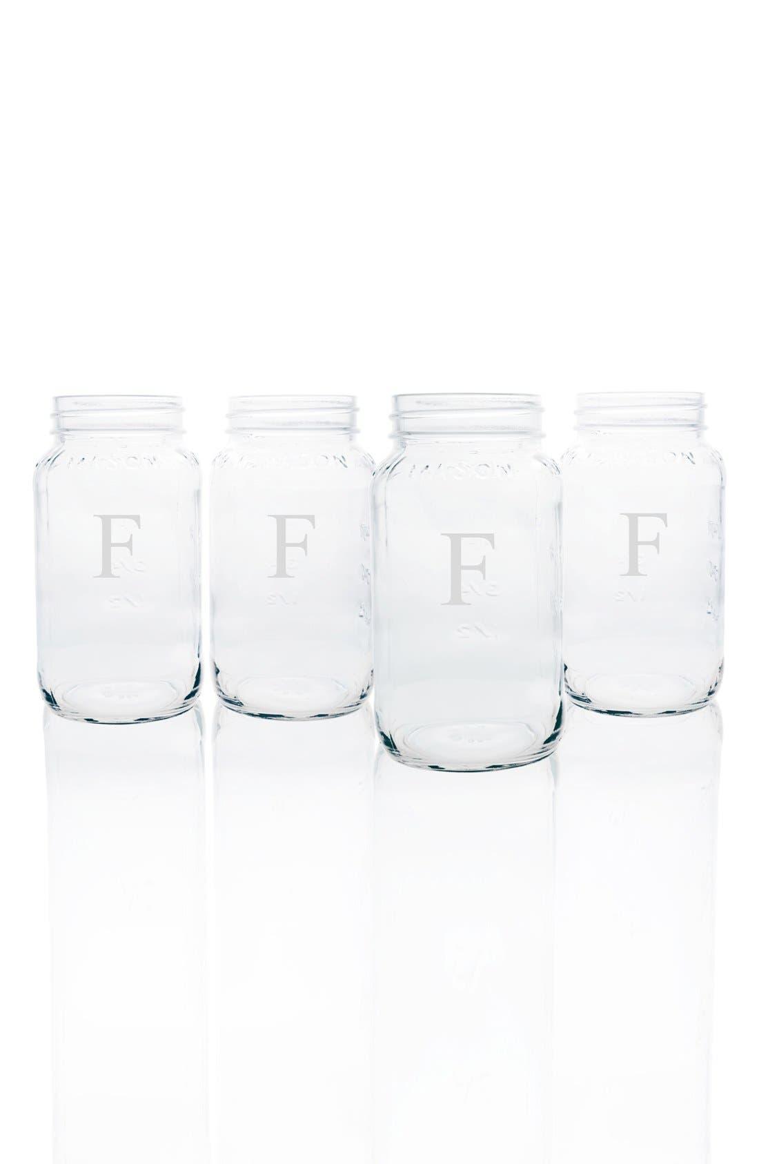 Monogram Glass Mason Jar Mugs,                         Main,                         color, Clear-F