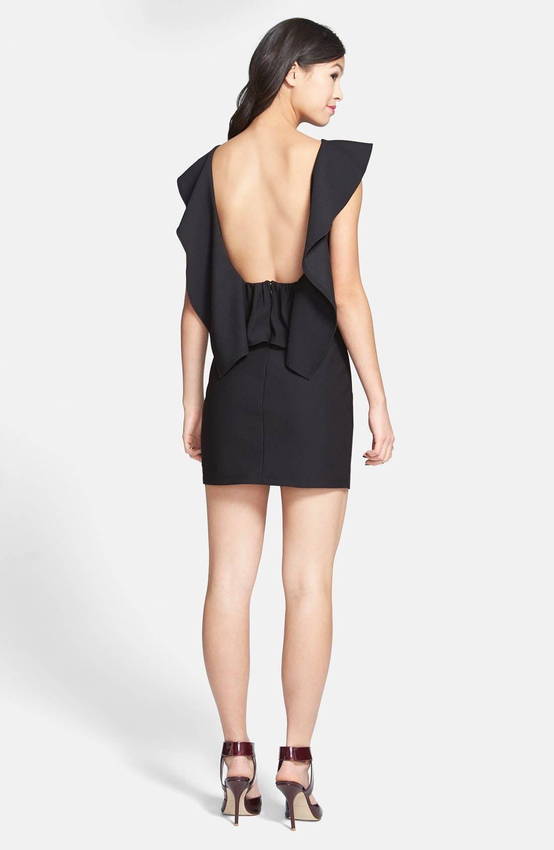 Alternate Image 2  - Trixxi Ruffle Back Body-Con Dress (Juniors) (Online Only)